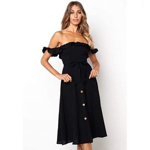 Sleeveless off the shoulder dress